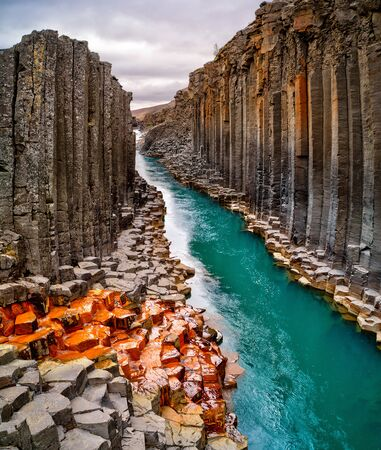 Breathtaking view of Studlagil basalt canyon, Iceland. Banco de Imagens