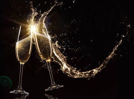 Glasses of champagne, celebration theme.