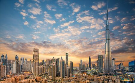 Amazing panoramic view on Dubai futuristic skyline, United Arab Emirates