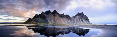 Stokksnes on southeastern Icelandic coast with Vestrahorn. Iceland.
