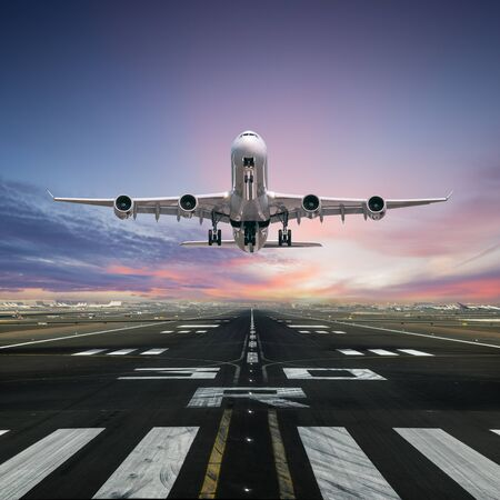 Airplane taking off from the airport runway