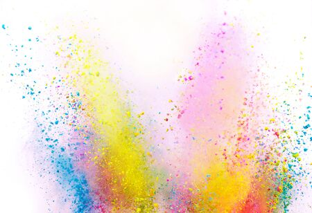 Launched colorful powder on white background, freeze motion Standard-Bild - 145913730