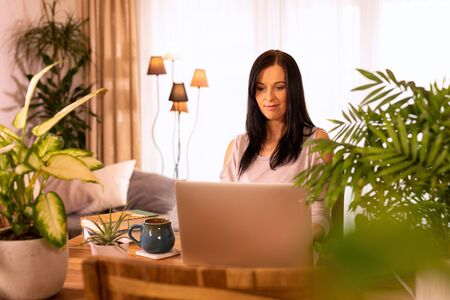Woman is using laptop computer. Standard-Bild - 146125358