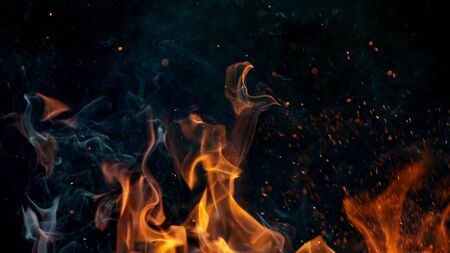 fire flames with sparks on a black background, close-up Standard-Bild - 145914039