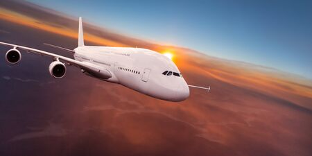 Huge two-storey passengers commercial airplane flying above dramatic clouds. Standard-Bild
