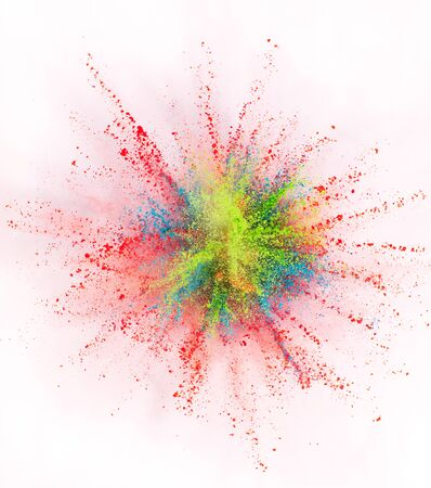 Launched colorful powder on white background Standard-Bild