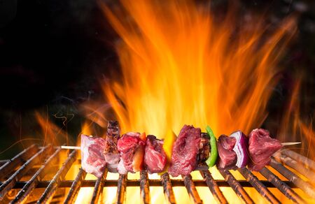 Tasty skewer on cast iron grate with fire flames.