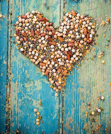 Heart shape made of Raw legume