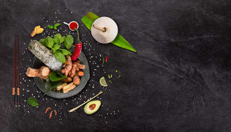 Mortal with ingredients, asian food concept