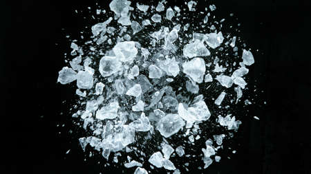 Crushed ice in motion, close-up.