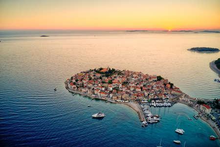 Aerial view of old Primosten town, Croatia Stok Fotoğraf