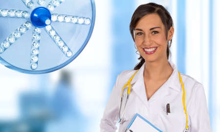 Portrait of attractive young female doctor. Stok Fotoğraf