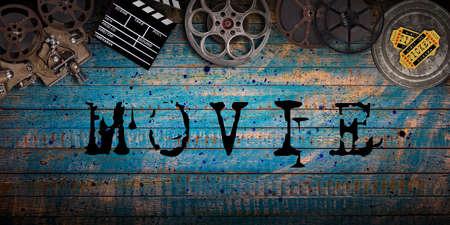 Cinema concept of vintage film reels, clapperboard and other tools. Zdjęcie Seryjne