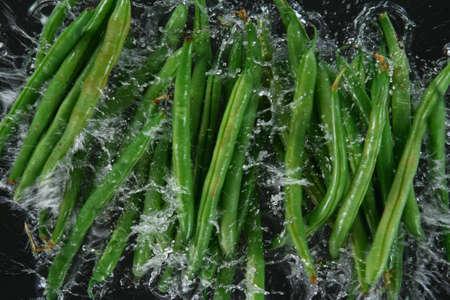 Falling fresh harvested green beans, water splash during impact