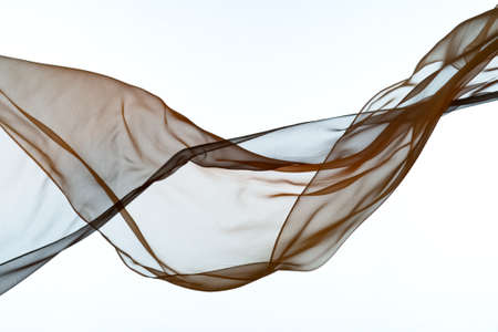 Smooth elegant colorful transparent cloth separated on white background.