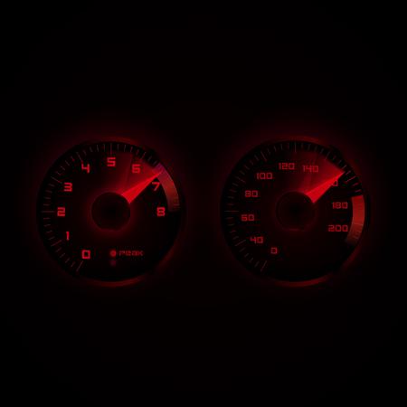 tachometer: Tachometer and speedometer. Vector