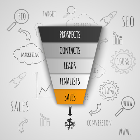 3D Sales Funnel infographic. Vector illustration.