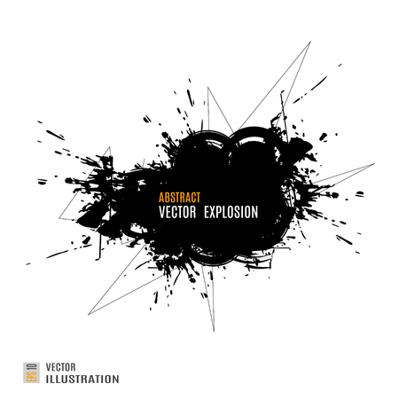 Abstract black explosion on white background. Vector illustration.