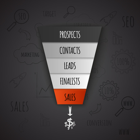 sales growth: 3D Sales Funnel infographic. Vector illustration.