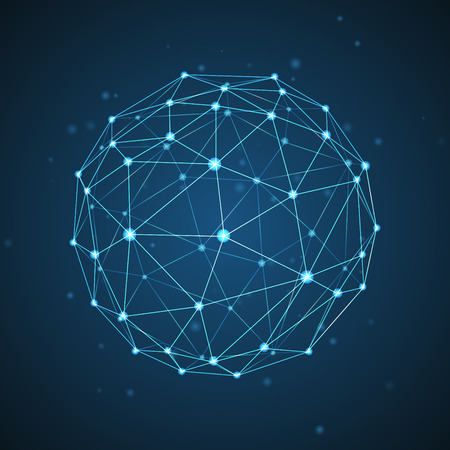 mesh: Abstract vector sphere. Futuristic technology wireframe mesh polygonal element. Connection Structure. Geometric Modern Technology Concept. Digital Data Visualization.