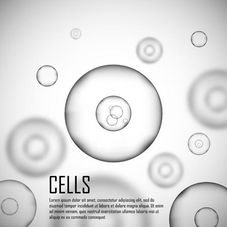 ZELLEN: Grau Zellenhintergrund. Leben und Biologie, Medizin Wissenschaft, molekularen Forschung DNA. Graue Zellen im Fokus. Vektor-Illustration