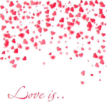Love is vector Illustration of a Colorful Background with Heart Confetti