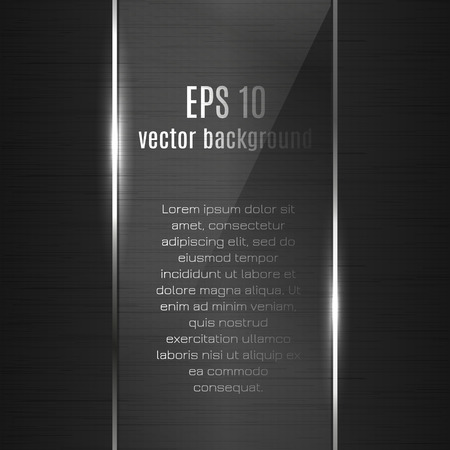 Technology vector metallic background with glass and metal grid for business presentation. Realistic polished metallic texture. Dark vector card