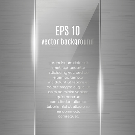 Technology vector metallic background with glass and metal grid for business presentation. Realistic polished metallic texture. Light vector card