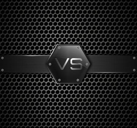 cerillas: Versus logo en fondo metálico. Vector Vectores
