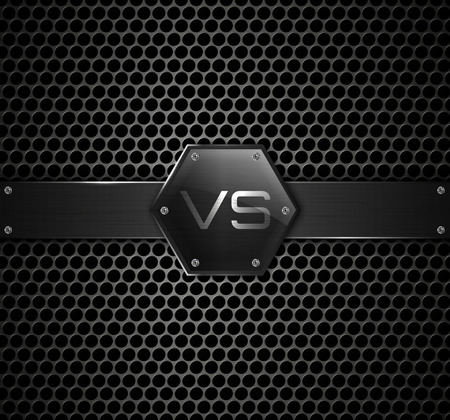 Versus logo on metallic background. Vector