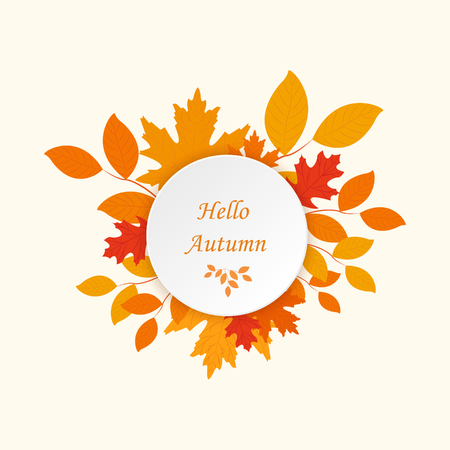 Hello Autumn background. Vector eps10. Can be used for flyers, banners or posters. Illustration