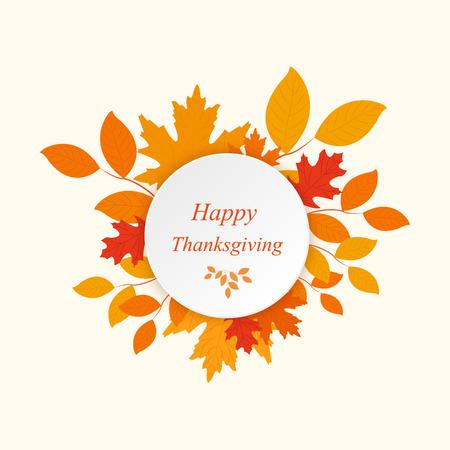 thanksgiving day symbol: Happy Thanksgiving con foglie d'autunno vettore Vettoriali