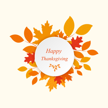 thanksgiving family: Happy Thanksgiving with autumn leaves vector