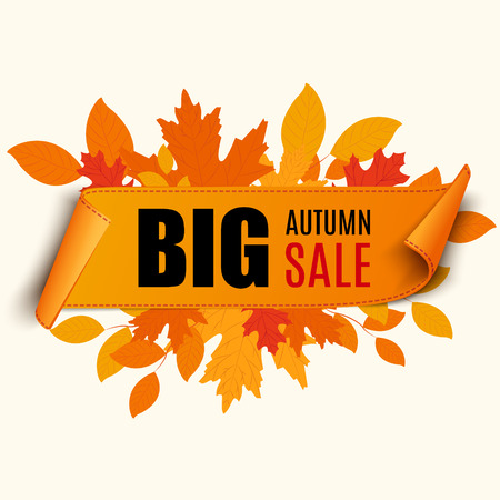 sales: Autumn foliage vector sale banner. Can be used for flyers, banners or posters.