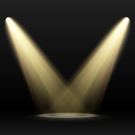 Two Yellow Spotlights on dark background. Scene. Light Effects.