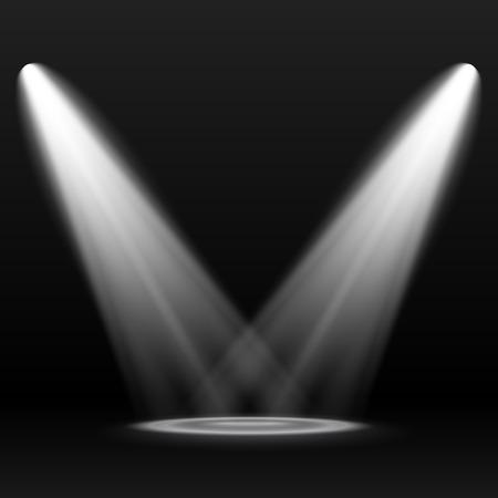 暗い背景に 2 つのスポット ライト。シーン。光の効果。  イラスト・ベクター素材