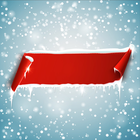 icicles: Red empty realistic curved paper banner with snow and icicles isolated on blue background.