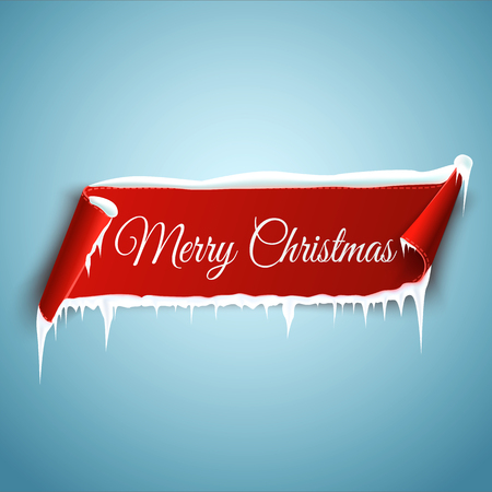 Merry Christmas celebration background with red realistic curved ribbon banner, icicles and snow.