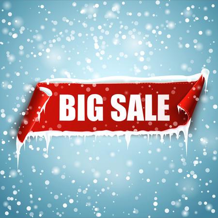 Großer Verkauf Banner. Winterverkauf. Red gekrümmten Papierfahne mit Schnee und Eiszapfen. Band
