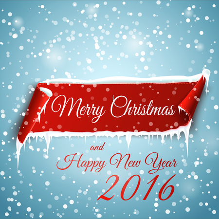 christmas scroll: Christmas background with red curved paper banner, snow and icicles. Merry Christmas and Happy New Year 2016.