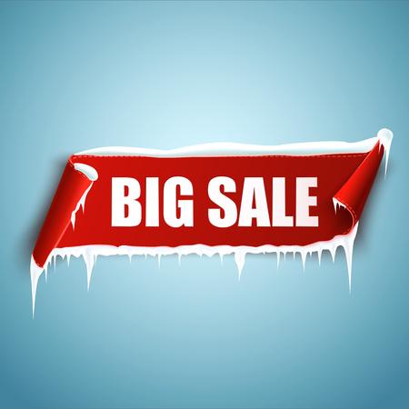 the big: Bandera de la venta grande. Rebajas de invierno. Bandera roja de la curva de papel con nieve y carámbanos. Cinta