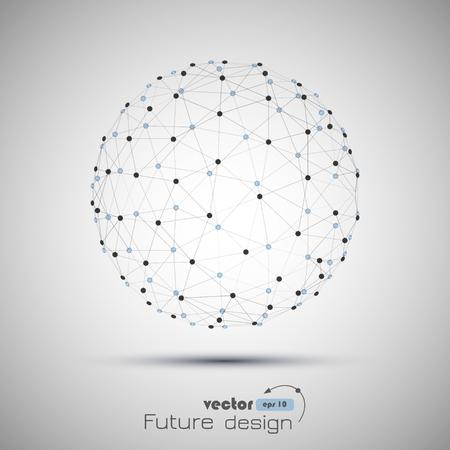 esfera: Resumen esfera. Futurista alambre tecnología de malla de elementos poligonales. Estructura de conexión. Concepto de la tecnología moderna geométrica. Visualización de datos digital. Concepto Gráfico Red Social
