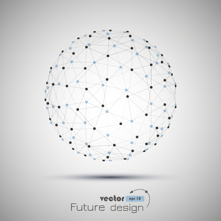 Abstract sphere. Futuristic technology wireframe mesh polygonal element. Connection Structure. Geometric Modern Technology Concept. Digital Data Visualization. Social Network Graphic Concept