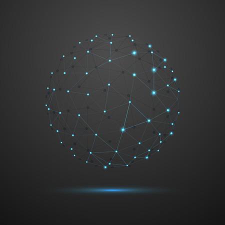 Resumen esfera. Futurista alambre tecnología de malla de elementos poligonales. Estructura de conexión. Concepto de la tecnología moderna geométrica. Visualización de datos digital. Concepto Gráfico Red Social