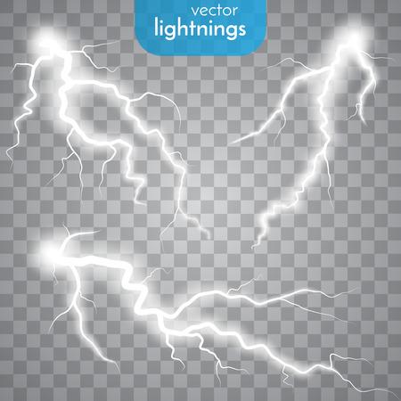 電光のセットです。雷の嵐と雷。魔法と明るい照明効果。  イラスト・ベクター素材
