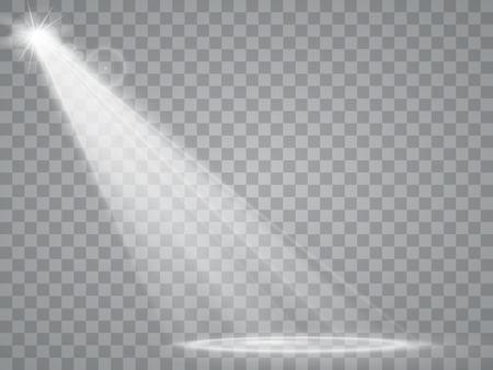 Schijnwerper op een transparante achtergrond. Lichteffecten.