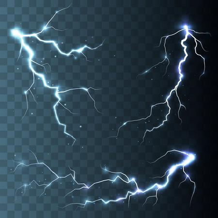 descarga electrica: Conjunto de relámpagos. Tormenta de truenos y relámpagos. La magia y efectos de iluminación brillante. Vectores