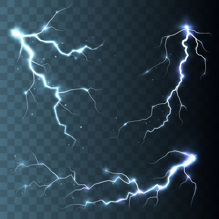 Set of  lightnings. Thunder-storm and lightnings. Magic and bright lighting effects. Ilustração