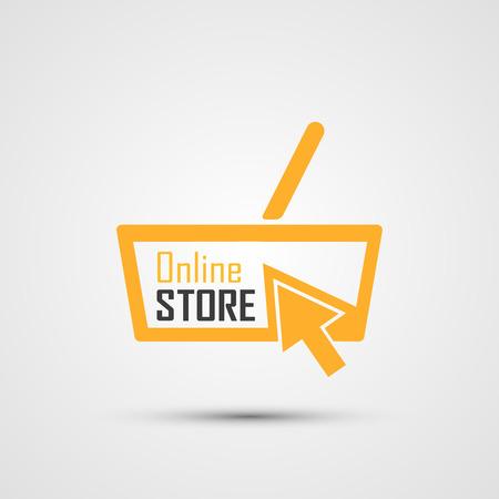 Online Store Logo. Orange Basket. Vettoriali