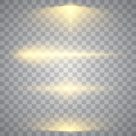 glow: Abstract image of lighting flare. Set of golden lights